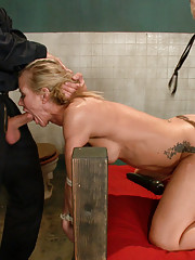 MILF in rough bondage sex, double penetration fantasy