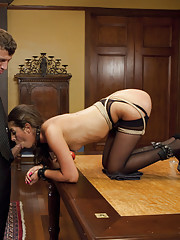 Kinky threesome sex with two slaves servicing one hard dick. Girl girl blow jobs, reverse cowgirl fucking, new slut is trained by the Consort.