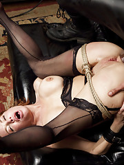 Nympho Anal MILF trained to suck cock with painful nipple clamps, service domistic gimp dick, reverse cowgirl squirting fuck and pile driver anal fuck