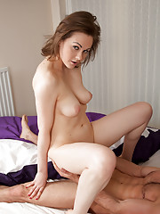 Gorgeous housewife lets her man cum in her tight shaved twat