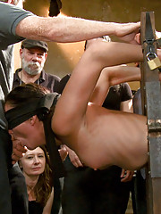 Filthy attention whore groped by a horny audience while being ass-pounded in device bondage!