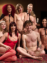 Slave is used and prostate milked by 5 gorgeous nude masked goddesses for all his sperm.