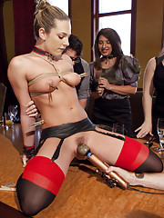Dahlia Sky is humiliated in front of a room full of brunch guests, made to beg for pleasure and pain, fucked in pussy and mouth as the guests watch