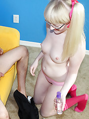 Blonde babe Krystal jerking off her perverted step brother