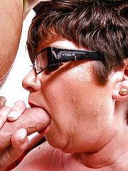 Milf Kriss sucking huge cock of young stud