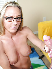Perverted step-mom Chrissy gave a handjob to her step son