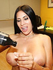 Busty babe Sheila Marie stroking huge cock