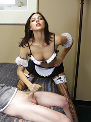 Hot French maid Cherry Poppins stroking her boss huge cock