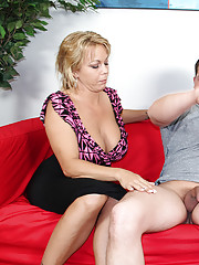Busty milf Amber jacking of big cock in front of her step-daughter