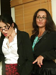 Frank is caught red handed when he gets interrupted whilst jerking off to some sexy pics he found of the two hot office secretaries Tatiana and Persia. The two milfs scold him and yell him, until they see how large his dick is