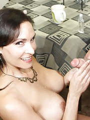 Perverted Raven LeChance tells him he should just rub one out. Shocked at his cock size Mrs. LeChance decides to jerk his cock for him instead