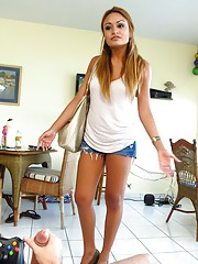 When bossy bitch Natalia Robles comes home she scolds him about his video game addiction, big time. But all he needs to do is whip out his monster cock and this bossy bitch turns into a Latina cum slut