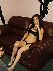 Sexy and young teen stripper Allison Banks is busted for jerking off customers in the vip room