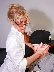 Busty milf Gina stroking big cock for salary raise