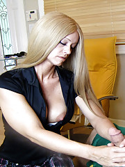 Sexy milf Candy jack off her perverted client