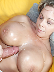 Busty milf sucking young stud big cock