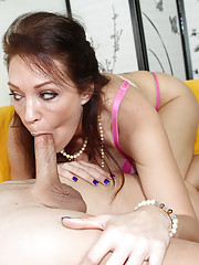 Busty milf Charlee sucking young big cock