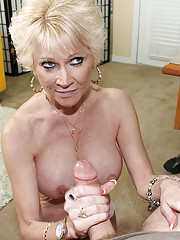 Busty milf get cum explosion from big boner