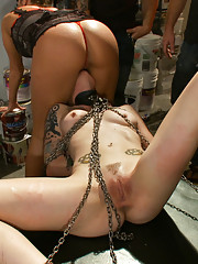 Skinny Blonde pounded in a sleazy biker bar- in chains, on a pool table and on a revving Harley. First boy/girl, first fisting, drill dildo!
