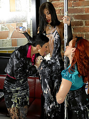 Three girls stripper pole