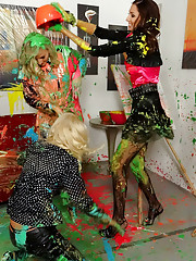 Hotties throwing wet paint
