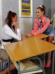 Schoolgirls shooting cream