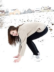 Snowball throwing teenager