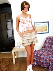 Short skirt teen pleasuring