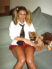 Teen and a stuffed doggie