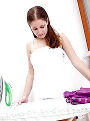 Ironing in teen underwear