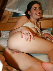 Rubbing herself in a cabin