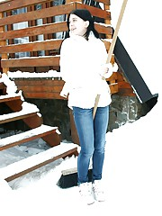 Snow shoveling teen inside