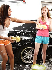 Car washing babes playing