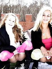 Two lesbian blondes petting