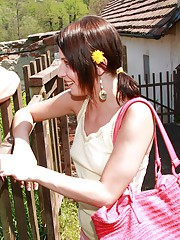 Flower picking girl drilled