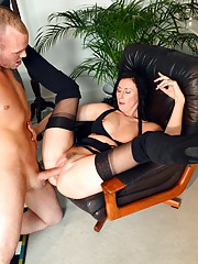 Stuffing her soaked snatch