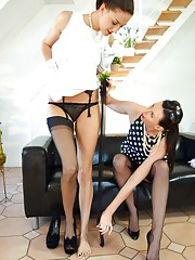 Stockings fanatics licking