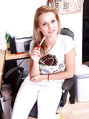 Beauty working at her desk