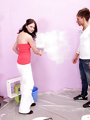 Wall painter screwing chick