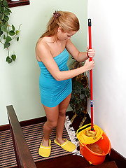 Stairs cleaning teen fucked
