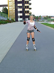 Roller skating girl jerking