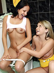 Horny girls fooling around