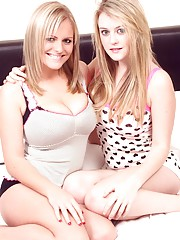 Two busty lesbian blondes