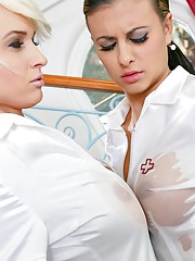 Two sexy nurses use sex toy