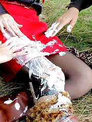 Hotties outdoors gets messy