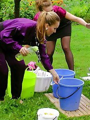 Babes play in soapy water