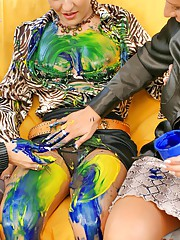 Babes painting each other