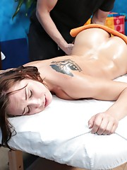 Beautiful brunette Aidra is seduced and fucked hard by her massage therapist