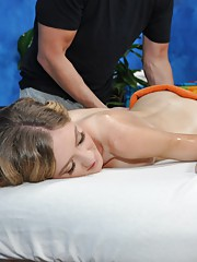 Alison seduced and fucked hard by her massage therapist