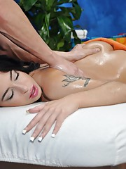Sweet brunette girl Adrianna gets fucked hard by her massage therapist